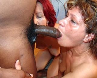 Two matuire sluts just loving that black cock